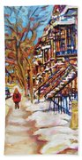 Cityscene In Winter Bath Towel