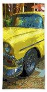 Classic 56 Chevy Car Yellow  Bath Towel
