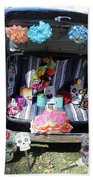 Classic Car Day Of Dead Decor Trunk Bath Towel