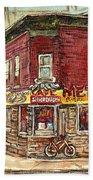Classic Chinese Restaurant Montreal Memories Silver Dragon Canadian Paintings Carole Spandau         Bath Towel