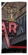 Classic Neon Sign For A Bar Livingston Montana Bath Towel