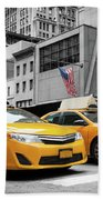 Classic Street View Of Yellow Cabs In New York City Bath Towel