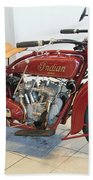 Classic Vintage Indian Motorcycle Red   # Bath Towel