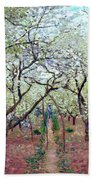 Claude Monet Orchard In Bloom Bath Towel