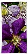 Purple Clematis Flower Vines Bath Towel