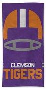 Clemson Tigers Vintage Football Art Bath Towel