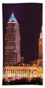 Cleveland Skyline Night Color - Downtown Buildings Bath Towel