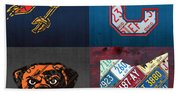 Cleveland Sports Fan Recycled Vintage Ohio License Plate Art Cavaliers Indians Browns And State Map Bath Towel