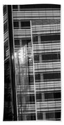Close Up Of Black And White Glass Building Bath Towel