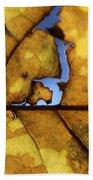 Close Up Of Yellow Leaf Bath Towel