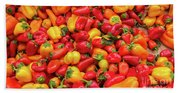Close Up View Of Small Bell Peppers Of Various Colors Bath Towel