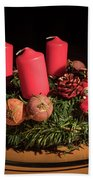 Closeup Of An Advent Wreath, Unlit Candles Bath Towel