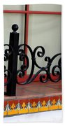 Closeup Of Window Decorated With Terracotta Tiles And Wrought Iron Photograph By Colleen Bath Towel
