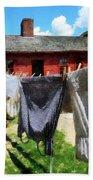 Clothes Hanging On Line Closeup Bath Towel