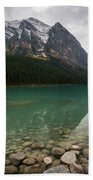 Cloudy Fall Day At Lake Louise Hand Towel by James Udall