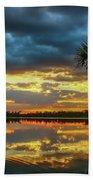 Cloudy Lake Sunset Hand Towel