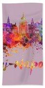 Cluj-napoca Skyline In Watercolor Splatter Bath Towel