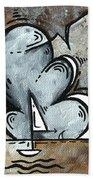 Coastal Art Contemporary Sailboat Painting Whimsical Design Silver Sea II By Madart Bath Towel