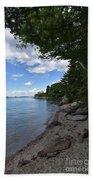 Coastal Maine's Rocky Shore On A Beautiful Summer Day Bath Towel