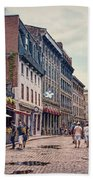 Cobblestone Streets In Old Montreal  Bath Towel