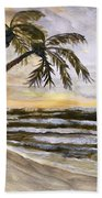 Coconut Palms On Cloudy Day Bath Towel
