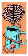 Coffee For The Brain Funny Illustration Bath Towel