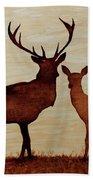 Coffee Painting Deer Love Bath Towel
