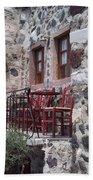 Coffee Shop In Santorini Bath Towel