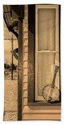 Cold Point Village Station - Banjo Mandolin In Sepia Bath Towel