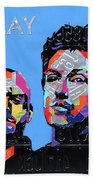 Coldplay Band Portrait Recycled License Plates Art On Blue Wood Bath Towel