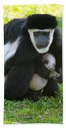 Colobus Monkey With Baby Bath Towel