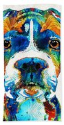 Colorful Boxer Dog Art By Sharon Cummings  Bath Towel
