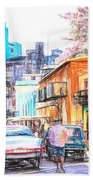 Colorful Buildings And Old Cars In Havana - V3 Bath Towel
