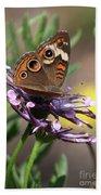 Colorful Butterfly On Daisy Bath Towel