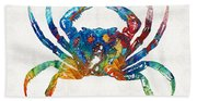 Colorful Crab Art By Sharon Cummings Hand Towel