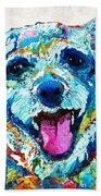 Colorful Dog Art - Smile - By Sharon Cummings Bath Towel