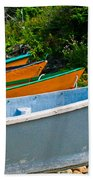 Colorful Fishing Boats On A Rocky Shore  Grand Manan Bath Towel