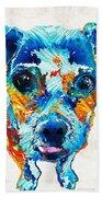 Colorful Little Dog Pop Art By Sharon Cummings Bath Towel