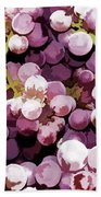 Colorful Pink Tasty Grapes In The Basket Bath Towel