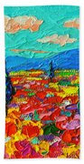 Colorful Poppies Field Abstract Landscape Impressionist Palette Knife Painting By Ana Maria Edulescu Bath Towel