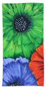 Colorful Poppy Lime Bath Towel
