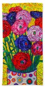 Colorful Ranunculus Flowers In Polka Dots Vase Palette Knife Oil Painting By Ana Maria Edulescu Bath Towel