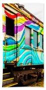 Colorful Skunk Train Passenger Car Bath Towel