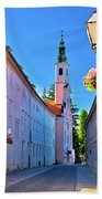 Colorful Street Of Baroque Town Varazdin  Hand Towel
