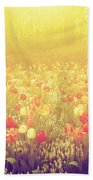 Colorful Tulip Flowers In The Garden On Sunny Day In Spring Bath Towel