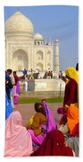 Colorful Saris At Taj Mahal Bath Towel