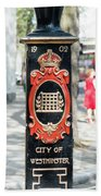 Colourful Lamp Post With The City Of Westminster Coat Of Arms London Bath Towel