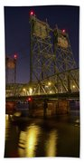 Columbia Crossing I-5 Interstate Bridge At Night Bath Towel