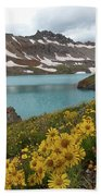 Columbine Lake And Alpine Sunflower Landscape Hand Towel