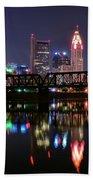 Columbus Ohio Reflecting In The Scioto River Bath Towel